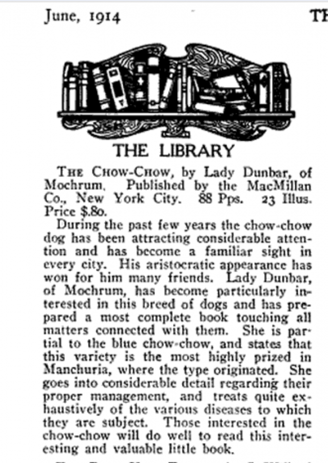 LADY DUNBAR CHOW BOOK REVIEW 1914