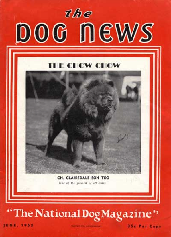 dog news 1953 CH. CLAIREDALE SON TOO