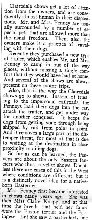 Clairedale by the Sea AKC Gazette August 31 1926